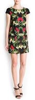 MANGO Tropical print straight-cut dress