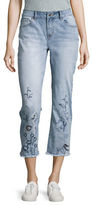 Kensie Jeans Embroidered Frayed Hem Cropped Jeans