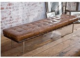 The Well Appointed House Regina Andrew Tufted Gallery Bench with Brown Vintage Leather Upholstery