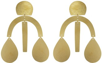 Annie Costello Brown Arc Drop Earrings - Yellow Gold