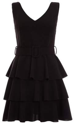Dorothy Perkins Womens *Quiz Black Layered Ra Ra Belted Dress, Black