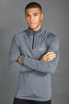 boohoo Mens Grey MAN Active Funnel Neck Muscle Fit Marl Top, Grey