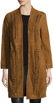 Kobi Halperin Willow Suede Coat W/ Whipstitching, Almond