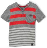 DKNY Dark Heather Gray & Red Stripe Baseball Tee - Toddler & Boys