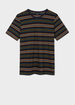 Paul Smith Men's Dark Navy Stripe Cotton T-Shirt