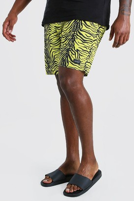 boohoo Mens Yellow Plus Size Animal Print Swim Short, Yellow