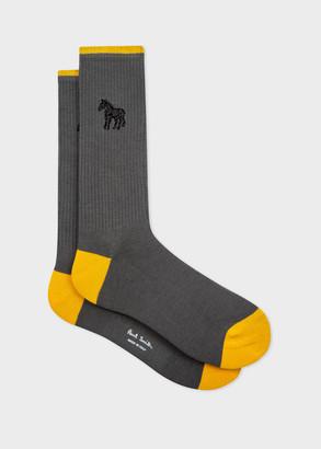 Paul Smith Men's Grey Embroidered 'Zebra' Socks