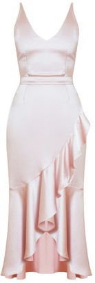 Nuita Pink Satin Bias Frill Midi Dress