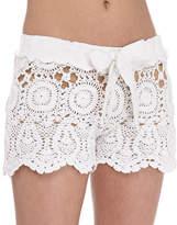 Letarte Crochet Tie-Waist Shorts, White