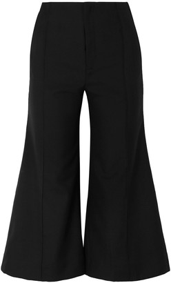 Georgia Alice Bobby Cropped Wool And Cotton-blend Twill Wide-leg Pants
