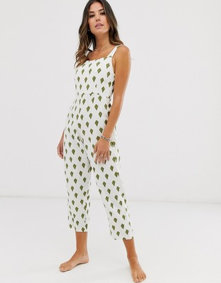 Zulu & Zephyr square neck linen beach jumpsuit in palm print