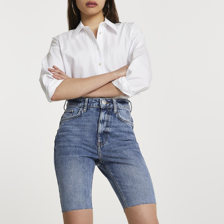 Thumbnail for your product : River Island Womens Blue longline mom bum sculpt shorts