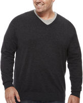 Claiborne V Neck Long Sleeve Pullover Sweater Big and Tall