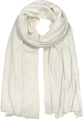 Mila Schon White Herringbone Cashmere, Viscose and Wool Blend Stole