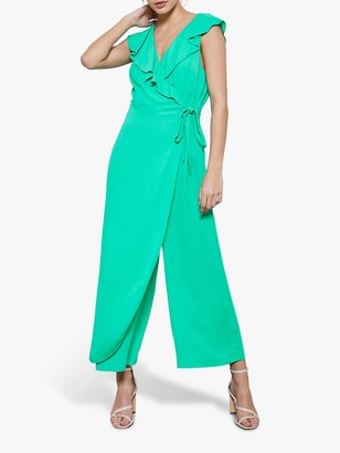 Mint Velvet Sleeveless V-Neck Jumpsuit, Green/Multi