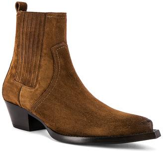 Saint Laurent Lukas Suede Boots in Land | FWRD