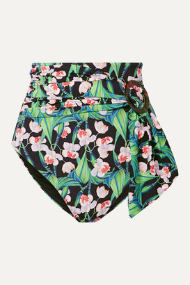 PatBO Belted Floral-print Bikini Briefs - Black