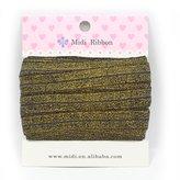 mdribbons 5/8 Inch 10 Yards Pack Gold Metallic Elastic Ribbon-Hair Tie Headband Ponytail Holder Making Supplies- Color