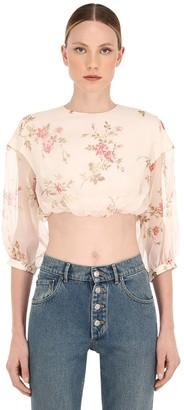 Brock Collection Floral Printed Silk Organza Crop Top