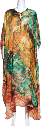Roberto Cavalli Multicolor Abstract Print Silk Kaftan Dress L