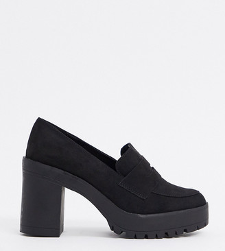 London Rebel Wide Fit heeled loafers in black