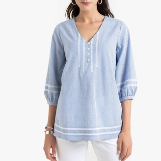 Anne Weyburn Striped Cotton Peasant Blouse with Embroidery
