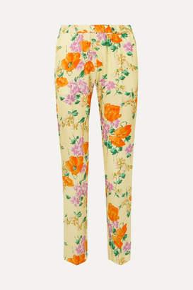 Dries Van Noten Floral-print Satin-jacquard Slim-leg Pants - Yellow