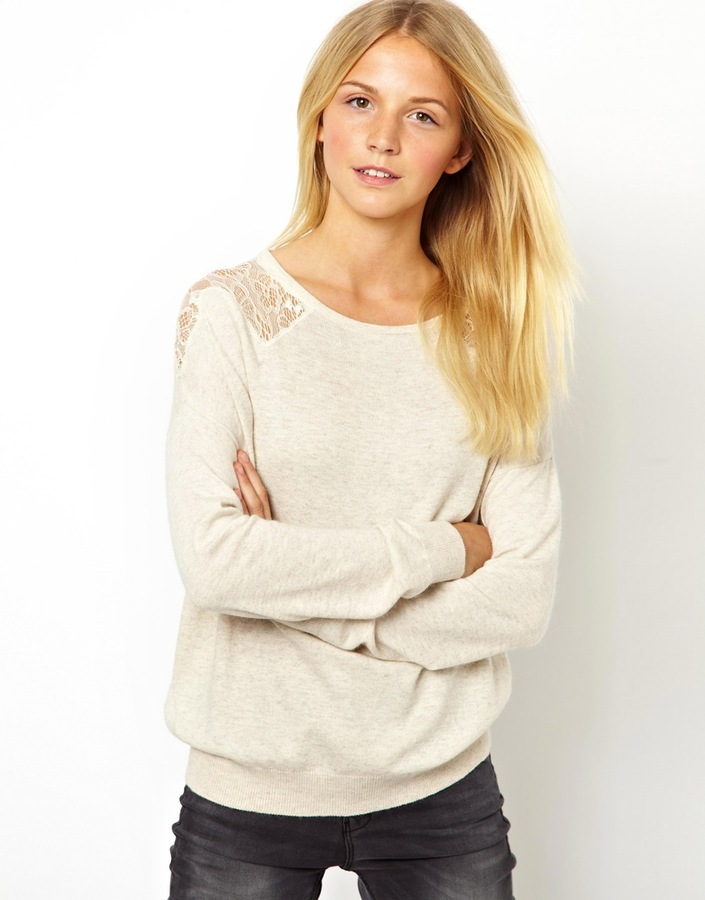 Asos Sweater With Lace Inserts