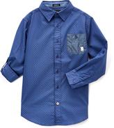 English Laundry Blue Plaid Contrast-Pocket Roll-Tab Button-Up - Boys