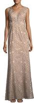 Aidan Mattox V-Neck Sleeveless Soutache Column Evening Gown
