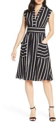 Vince Camuto Vice Camuto Stripe Crepe Fit & Flare Dress