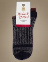 Marks and Spencer 2 Pair Pack Cotton Rich Ankle High Socks