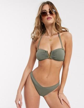 New Look v shape bikini bottoms in khaki