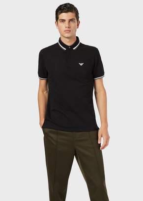 Emporio Armani Stretch Pique Polo Shirt With Contrasting Trim
