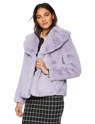 Kensie Women's Short Fuax Fur Coat Notch Collar and Lapel