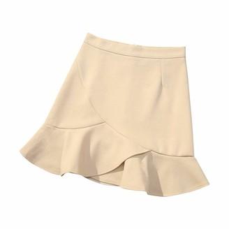 WAOTIER Skirt Fashion Women High Waist Ruffle Hem Mermaid Ladies Dress Above Knee Casual Elasticity Solid Short Fit Mini Skirts Beige