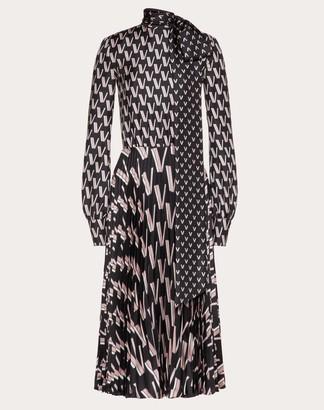 Valentino Printed Twill Dress Women Black Silk 100% 36