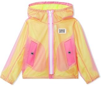 BURBERRY KIDS Logo Print Mesh Style Hooded Jacket