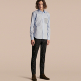 Burberry Cotton Poplin Shirt with Pyjama Stripe Pocket