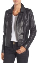 MICHAEL Michael Kors Women's Double Lapel Leather Jacket