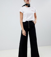 Chorus Petite Wide Leg Jeans with Exposed Zip and Star Zip Puller