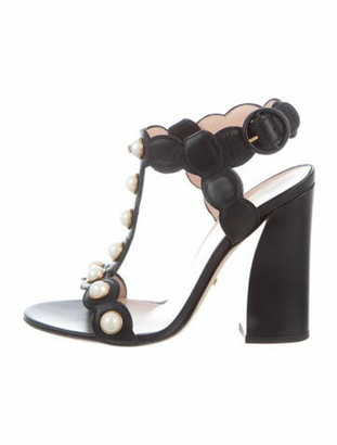 Gucci Faux Pearl Accents Leather T-Strap Sandals Black