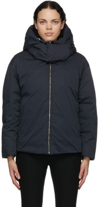 Ambush Navy and White Reversible Down Hooded Jacket