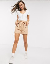 QED London paperbag waist twill shorts in camel