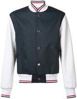Thom Browne bicolour bomber jacket - men - Cotton/Leather - 3