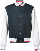 Thom Browne bicolour bomber jacket - men - Cotton/Leather/Polyester - 1