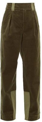 Ganni Panelled Corduroy Wide-leg Trousers - Khaki
