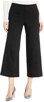 Elliott Lauren Wide Leg Cropped Pull-On Ponte Knit Pants (Black) Women's Casual Pants