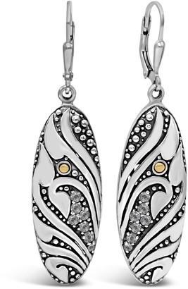 Devata Sterling Silver Bali Filigree CZ Leverback Earrings