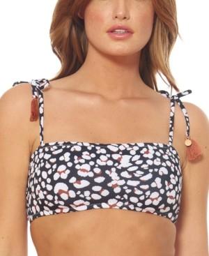 Jessica Simpson Cool Cat Printed Tassel Bandeau Bikini Top Women's Swimsuit
